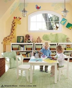 animals on wall in nursery @ church would be cute! Toddler Playroom, Toddler Rooms, Infant Room, Toddler Art, Children Playroom, Small Playroom, Playroom Design, Playroom Ideas, Playroom Organization