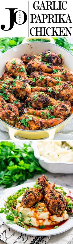 Garlic and Paprika Chicken - Deliciously baked crispy, juicy and tender chicken drumsticks with a garlic and smoked paprika sauce.