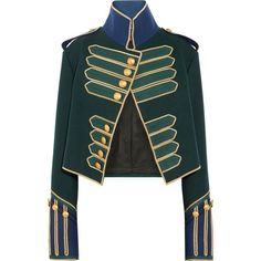 Burberry Cropped embellished wool jacket featuring polyvore women's fashion clothing outerwear jackets burberry tops blazers forest green short-sleeve blazers green cropped jacket cropped blazers military style jacket wool blazer
