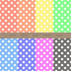 Polka dot digital paper - 8 sheets of headscarf pastel colours for scrapbooking