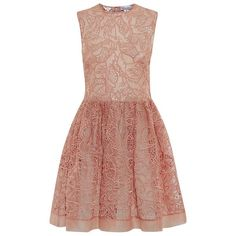 Red Valentino Cut-Out Lace Dress ($1,200) found on Polyvore featuring dresses, red valentino dress, cutout dress, beige lace dress, cocktail party dresses and lacy dress