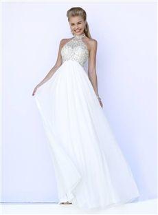Buy 2015 Spring Princess Halter Neckline  White Prom Dresses with Beading Online, newbridalup.Com offer high quality fashion2015 Spring Princess Halter Neckline  White Prom Dresses with Beading,Price: US$154.09