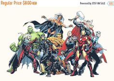 "ON SALE Counted Cross Stitch Pattern chart pdf file - Marvel all characters - 31.35"" x 20.71"" - L232"