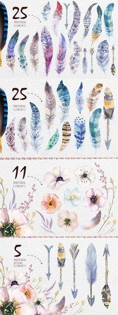 Bohemian Watercolor Tribe Feathers - https://www.designcuts.com/product/bohemian-watercolor-tribe-feathers/ #watercolorarts