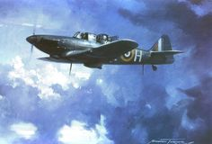 """Boulton Paul Defiant Night Fighter, by Michael Turner - The Defiant was painted all black and fitted with flame damper exhausts, to assume the role of a night fighter where it enjoyed success, shooting down more enemy aircraft than any other night fighter during the German """"Blitz"""" on London in the winter of 1940-41. Initial operations were conducted without the benefit of radar, which was not fitted until the autumn of 1941"""