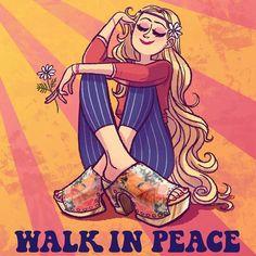 ☯☮ॐ American Hippie Bohemian Psychedelic Art ~ Walk in Peace Hippie Chick
