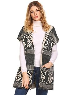 00f83d1a75 sholdnut Women s Sleeveless Hooded Open Front Knitted Cardigan Vest with  Pocket