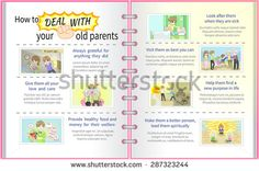 How to deal with your old parents father and mother cartoon info graphic template design with sample text layout in full diary version, create by vector