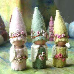 Items similar to Three Spring Blossom Gnome Waldorf inspired Storytelling Faerie Elf Natural Dollhouse Doll on Etsy Waldorf Crafts, Waldorf Dolls, Felt Crafts, Diy Crafts, Clothespin Dolls, Nature Table, Spring Blossom, Dollhouse Dolls, Fairy Dolls