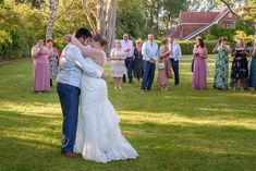 Bride and groom wedding first dance in gardens of Springfield Country House Hotel in Dorset watched by wedding guests Wedding Ties, Wedding Groom, Blue Wedding, Summer Wedding, Wedding Ceremony, Hotel Wedding Receptions, Wedding First Dance, Bridesmaid Dresses, Wedding Dresses
