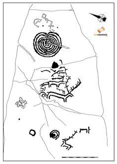 Calco do pretóglifo de Outeriro do Cribo (concello de Meis). Autor: Antonio de la Peña. Ademais dos cervos, chama a atención o labirinto de tipo cretense que coroa a rocha e que recorda moito ao labirinto de Mogor no concello de Marín, un motivo que fala sen lugar a dúbidas deses contactos da nosa cultura atlántica coa mediterránea xa no III milenio a.C., unha data que se pon moitas veces en relación precisamente cos inicios destas magníficas representacións da arte rupestre galega.