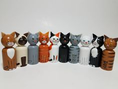 This item is unavailable Wooden Cat, Wooden Pegs, Wooden Dolls, Diy Plastic Bottle, Diy Gifts, Handmade Gifts, Cat Decor, Kokeshi Dolls, Wood Toys