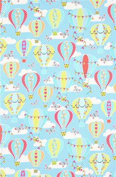 blue dotted hot air balloon fabric Timeless Treasures