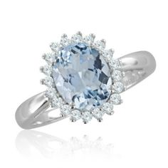 Cluster Diamond and Aquamarine Ring in 14k White Gold Halo Ring (H, SI2, 1.68 cttw) Certificate of Authenticity My Love Wedding Ring. $689.99