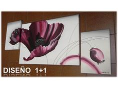 Cuadros Flores Triptico pintado a mano con acrílico sobre lienzo