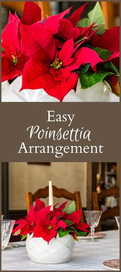 Learn how to make this simple easy poinsettia arrangement for your holiday table. You can make this in about 15 minutes and will probably have enough for two. Rustic Christmas, Christmas Crafts, Christmas Decorations, Table Decorations, Holiday Decor, Holiday Ideas, Christmas Ideas, Church Decorations, Christmas Arrangements