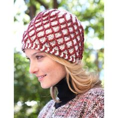 Lattice Hat - Available in two stunning colorways, this hat is made of a thick, warm fabric with interesting lattice texture. Shown in Patons Classic Wool Worsted.