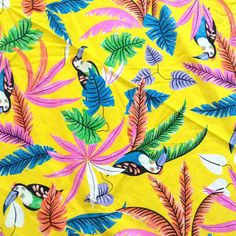 Check out this item in my Etsy shop https://www.etsy.com/listing/529891680/vintage-yellow-tropical-floral-toucan