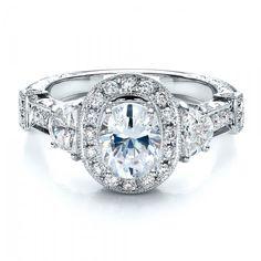 Oval Engagement Ring Half Moon Side Stones- Vanna K