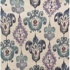This is a purple, blue and red geometric Ikat design cotton blend drapery fabric by Swavelle Mill Creek Fabrics, suitable for any decor in the home or office. Perfect for pillows, drapes and bedding.v112AEF