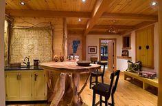 îlot de cuisine central bois rustique bois massif design