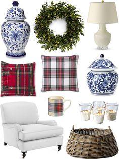 CHIC COASTAL LIVING: HOME FOR CHRISTMAS #tartan @williamssonoma @wshome @serenaandlily #winter blue and white