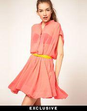 sheer shirt dress