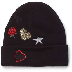 Miss Selfridge Black Novelty Beanie ($28) ❤ liked on Polyvore featuring accessories, hats, black, embroidery hats, embroidered beanie, embroidered beanie hats, beanie cap and acrylic hat