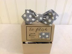 Boys  Diamond tip Grey and white polka dot bow tie by TieFetish,