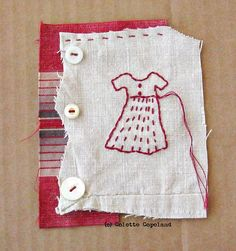 Colette Copeland - My Daughters Dress No. 30 Hand-stitched on antique linen, with antique buttons. Dimensions: 4x5 inches