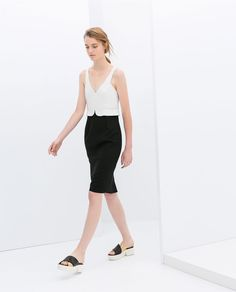 ZARA - WOMAN - TWO-TONE PEPLUM DRESS