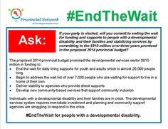 #EndTheWait for people with developmental disabilities!  #election #toronto