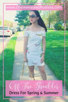 Are you loving the off the shoulder trend? Check out this off the shoulder dress, crochet dress that's less than $30 and perfect for spring fashion, spring outfits, summer outfits, and summer fashion. Outfit ideas, style fashion, and style inspiration.
