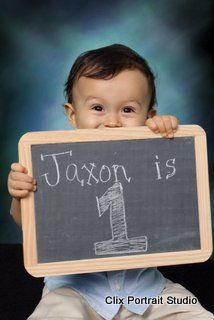 chalkboard picture   baby  one year old