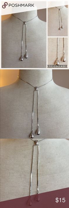 Vintage NAPIER silver modernist lariat necklace Great condition Vintage Jewelry Necklaces