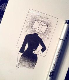 block head tumblr girl inked drawing