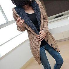 Sweater Long Sleeve Hooded Hoodie Knit Cardigan