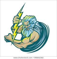 Zeus Logo Vector Isolated On White Stock Vector (Royalty Free) 690602302 Zeus Greek, Greek Gods, Power Logo, Design Art, Logo Design, Roman Art, White Stock Image, Fantasy Character Design, Fantasy Characters