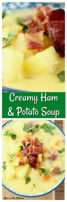 CREAMY HAM AND POTATO SOUP is a delicious and hearty meal for any night of the week! #ad #dairypure #soup MissintheKitchen.com