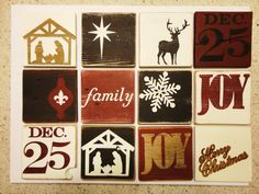Hand Painted Wood Christmas Tiles by KLKDesignsLLC on Etsy