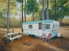 HiLo travel trailer vintage Paige Bridges artist Wills Point, TX Vintage Rv, Vintage Caravans, Vintage Travel Trailers, Vintage Style, Retro Campers, Vintage Campers, Camper Trailers, Rv Trailer, Trailer Remodel