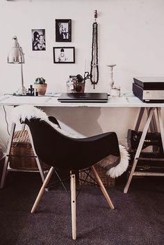 parisian apartment black white and wood