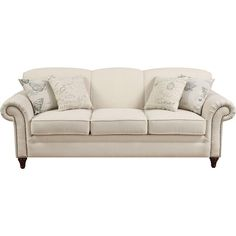 Complementing script-print throw pillows give this classic sofa a French country feel, but it'd be equally chic paired with a bright rug or breezy palms in a...