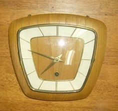 Working Hermle Mid Century Retro Wall Clock Time Only Teak Wood Case | eBay