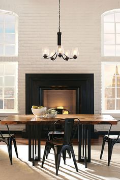 Morill 5 Light Chandelier By Sea Gull Lighting Combines Retro And Trends To Edison Lightingsconce Lightingdining Room