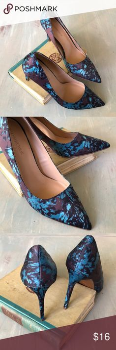 """NWOT Floral print Heels NWOT. Floral print heels. Colors include dark and light teal, brown, black, and purple. Never worn. 3.5"""" heel Shoes Heels"""