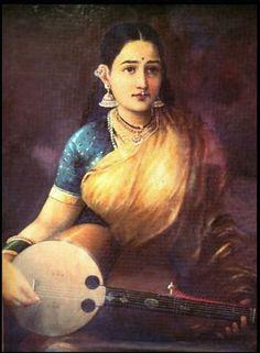 Raja Ravi Verma's Painting, Lady with Musical Instrument.