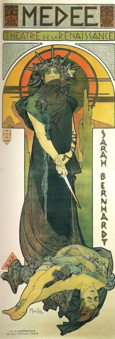 A poster advertising a theater production from the 19th-20th century. Made by Alphonse Mucha.