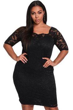 d5cb7e75143 Floral Lace Bodycon Mini Dress  plussize  soofabfashion  minidress   fallfashion  blackdress Curvy