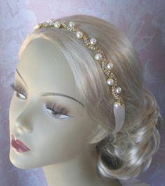 Crystal and Pearl Headband Rhinestone Bridal by TheRedMagnolia